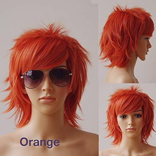 Unisex Short Cosplay Wig Fluffy Hair Wig Japanese Anime Comic Hairstyles With Layered Bang For Halloween Cosplay Party Costume Dress Synthetic Pixie Wig For Girls Teen Boys(orange)]()