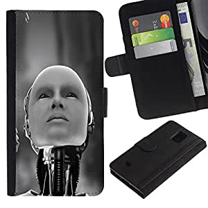 KingStore / Leather Etui en cuir / Samsung Galaxy S5 Mini, SM-G800 / Robot humanoide
