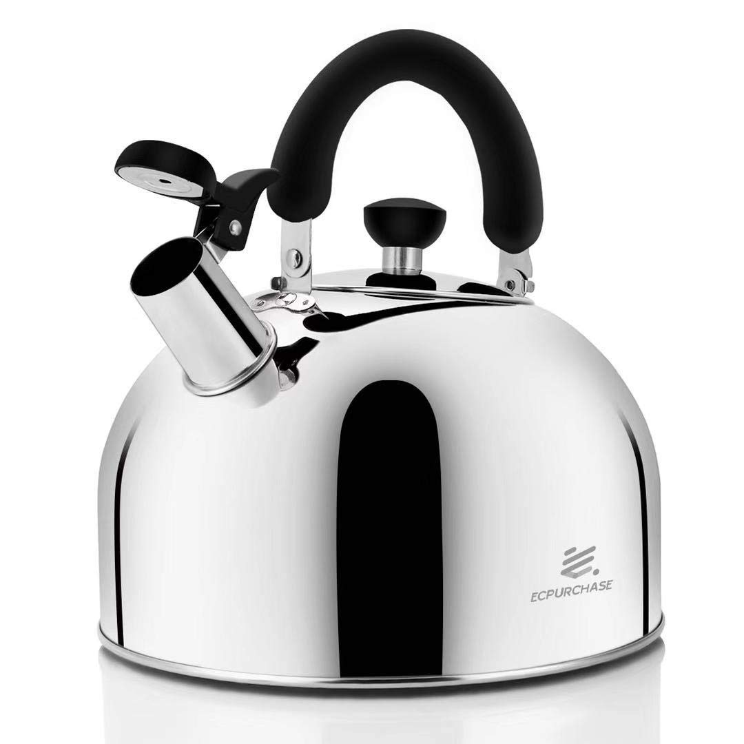 Stainless Steel Whistling Tea Kettle Tea Pot, Tea Kettles Stovetop 4.3Qt Large Capacity, Capsule Base Tea Pots for Stove Top (Silver Tone) by Ecpurchase by ECPURCHASE