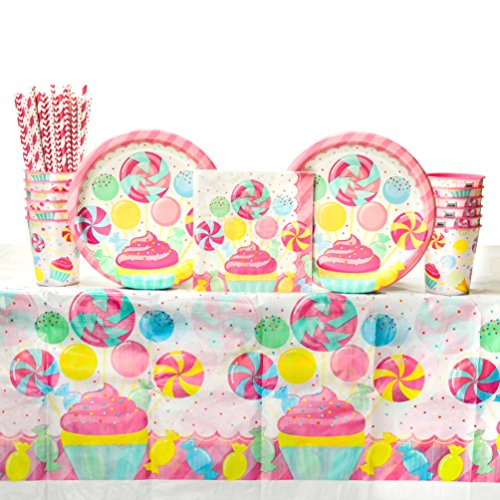 Candy Bouquet Birthday Party Supplies Pack for 16 Guests | Straws, 16 Dinner Plates, 16 Luncheon Napkins, 16 Cups, and Table Cover | Create The Cutest Candy Shop Party For Your Birthday Girl! ()