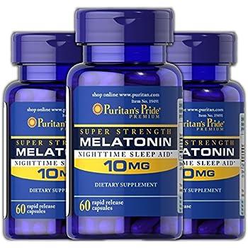 Puritans Pride Melatonin 10 mg / 60 Capsules, 3 Bottles