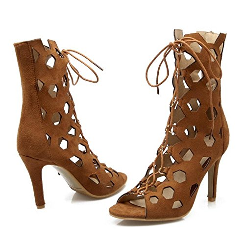 Coolcept Women Lace up Summer Boots Brown r9uISfcPW1