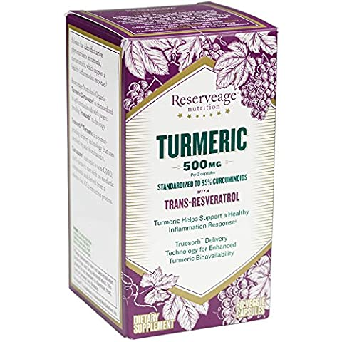 Reserveage - Turmeric with Resveratrol, Supports a Healthy Inflammation Response, 60 capsules - Reserve Proprietary Red Wine