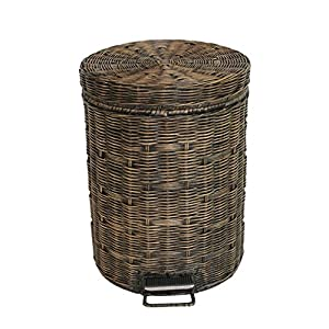 LXY Rattan Vintage Trash Can Pedal-Style Covered Household Living Room Kitchen Industrial Wind Household Trash Can Trash can