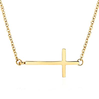 578f0155e79f3 Ghome Sideways Cross Necklace 18k Gold Plated Stainless Steel Simple Small  Cross Pendant from Offer Silver or Gold Color 18 Inches for Women Girls ...