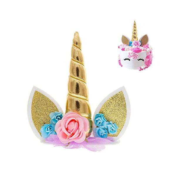 Unicorn Cake Topper & Rainbow Cupcake Wrappers Kit (Set Includes Horn, Ears, Eyelashes) + Happy Birthday Banner Decor… 4