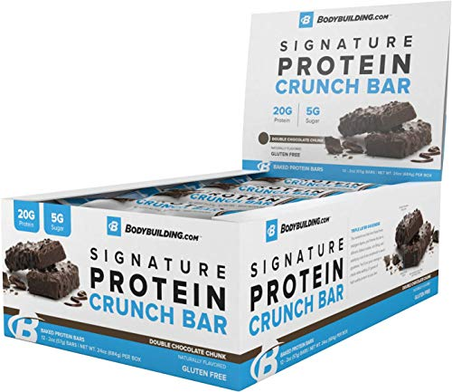 BodyBuilding.Com Signature Protein Crunch Bar | 20g Whey Protein Low Sugar | Gluten Free No Artificial Flavors | (12 Bars, Double Chocolate Chunk)