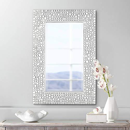"Noble Park Savla Textured Relief Silver 24"" x 36"" Wall Mirror"