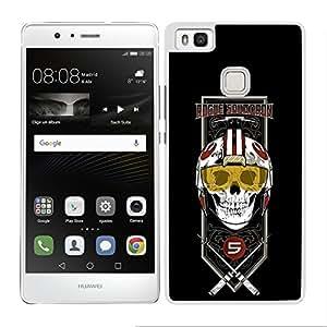 Funda carcasa para Huawei P9 Lite diseño Luck fondo negro SW borde blanco