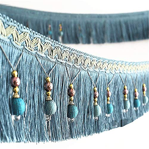 2yard Briaded Beads Hanging Ball Tassel Fringe Trimming Applique Fabric Trimming Ribbon Band Curtain Table Wedding Decorated T2582a (Blue)