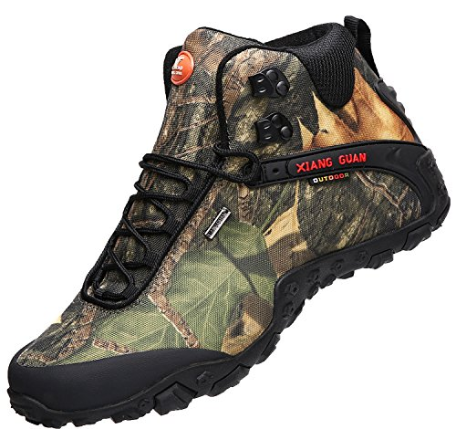 XIANG GUAN Men's Outdoor High-Top Camouflage Water Resistant Trekking Hiking Boots Black OhIrv