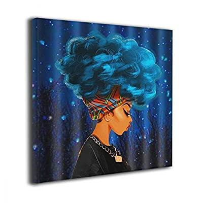 """Ale-art Wall Art Galaxy Sea Blue Hair African Women Canvas Painting Modern Cartoon Animal Wall Pictures for Bathroom Living Room Bedroom Home Decoration Prints Art 12""""x12"""" - High Definition Picture Prints On High Quality Canvas Wall Art Decor Size:12""""x12""""(30x30cm) Includes Wall Nails And Hook For Ease Of Mounting - wall-art, living-room-decor, living-room - 51CUkcLy5%2BL. SS400  -"""