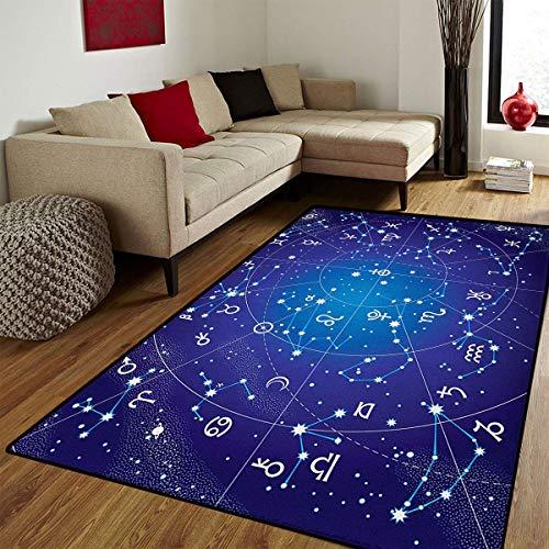 Celestial Bath - Astrology,Floor Mat for Kids,Constellation of Zodiac and Planets Original Collection Coordinates of Celestial,Bath Mat for tub Bathroom Mat,Dark Blue,4x5 ft