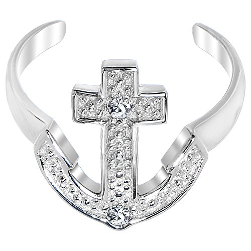 Au Toe Ring - Body Candy 925 Sterling Silver Nautical Anchor Cubic Zirconia Toe Ring