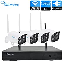 Amorvue 4 Channel 1080P Wifi NVR with 4 PCS 1080P Day Night Wireless 2MP Outdoor/Indoor Security Network Camera Home CCTV Surveillance Systems without HDD (Plug and Play, NVR Built-in Router)
