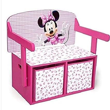 Minnie mouse caja de almacenaje – baúl para juguetes de madera para las niñas niños muebles