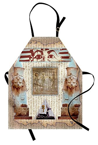 Ambesonne Egypt Apron, Eastern Heritage Ancient Egyptian Pharaoh Mummy Coffin Portrait Artwork Print, Unisex Kitchen Bib Apron with Adjustable Neck for Cooking Baking Gardening, Taupe Redwood]()