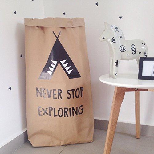 Personalized Nursery Paper Bag, Kids Room Toys Storage Bag, Custom Paper Bag, - Never Stop Exploring