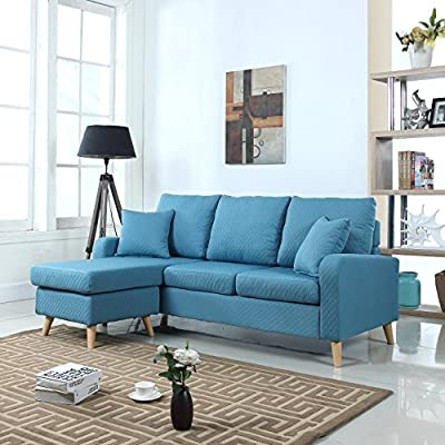 Mid Century Modern Linen Fabric Small Space Sectional Sofa with Reversible Chaise (Sky Blue) - Mid-century modern linen fabric with quilted stitching sectional sofa with reversible chaise lounge in a variant of colors Features soft fabrics with quilted details in fun colors on hardwood frame, overstuffed cushions and two decorative pillows in the same fabric and stitching Small space configurable sectional, allowing to position chaise on either end - Perfect for small apartments of studios - sofas-couches, living-room-furniture, living-room - 51CUlY7EXgL. SS400  -