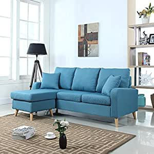 Mid century modern linen fabric small space for Amazon sectional sofa with chaise