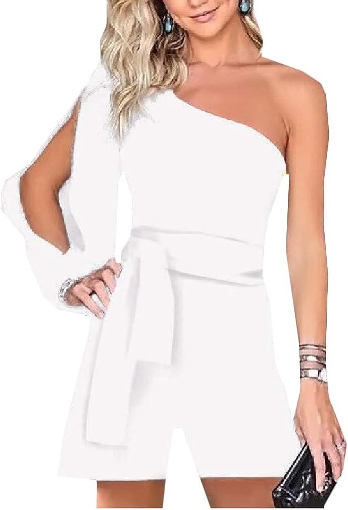 Hajotrawa Womens Casual Long Sleeve Belt One Shoulder Short Rompers