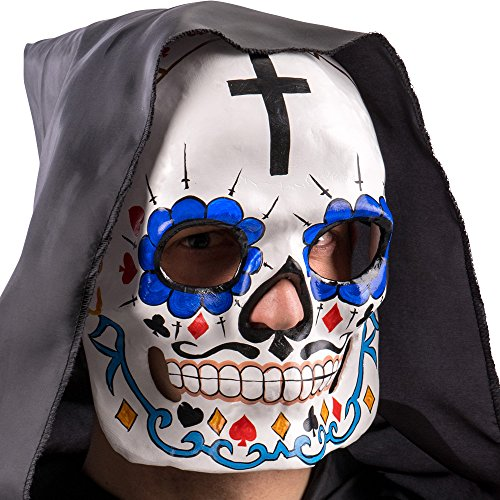 Carnival Toys 665Mask Skull with Crosses Cards and Baffetti, Multicoloured, One -