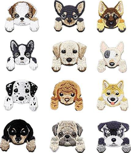 Parches de hierro bordado para perro, insignia de animal para bricolaje, camisas, pantalones vaqueros, sombreros, bolsas, 12 unidades: Amazon.es: Juguetes y ...