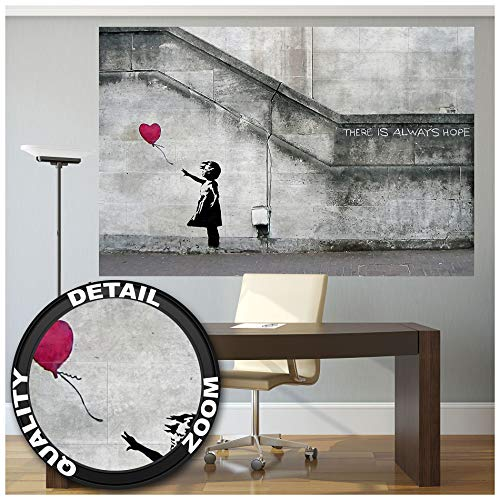 Poster - Banksy Art Balloon Girl - Mural Decoration There is Always Hope Banksy Girl with Balloon Banksy Street Style Stencil Wallposter Photoposter Wall Decor (55 x 39.4 Inch/ 140 x 100 cm)