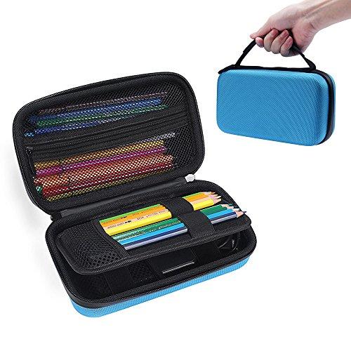 Big Capacity Multifunction Pencil Case - MASiKEN Hard Stationery Pencil Pen Case Storage Bag Pouch (Blue) -