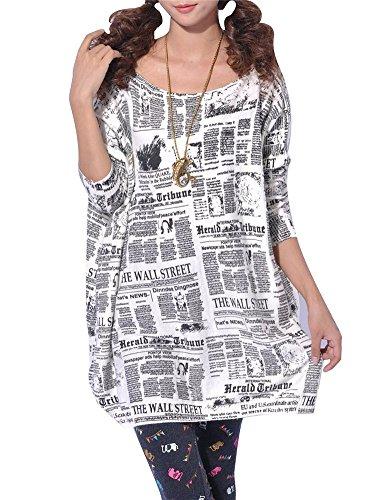 Mujer N9294Locker Chaqueta de punto Locker Periódico Impreso Long Blusa Cuello Redondo Camiseta de manga larga en otoño invierno–Très Chic Mayo Landa Weiß