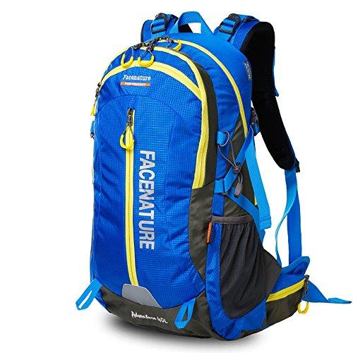 Facenature Outdoor Sports Camping Hiking Climbing Waterproof Internal Frame Backpack Lightweight Travel Daypacks 40L 50L Trekking Packs with Rain Cover (Blue, 40L)