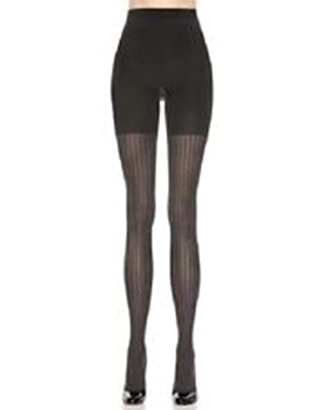 4171a6933ba Assets By Sara Blakely Black Spanx Ribbed Tights Size 2 at Amazon Women s  Clothing store