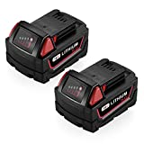 Powerextra 18V 5.0AH Replacement Battery Compatible with Milwaukee 48-11-1852 M18 REDLITHIUM XC 5.0 Ah M18B 48-11-1850 48-11-1852 48-11-1820 M18 Battery 2Pack