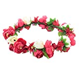 Love Sweety Flower Crown Flower Headband Hair Wreath for Wedding Featival (Red White)