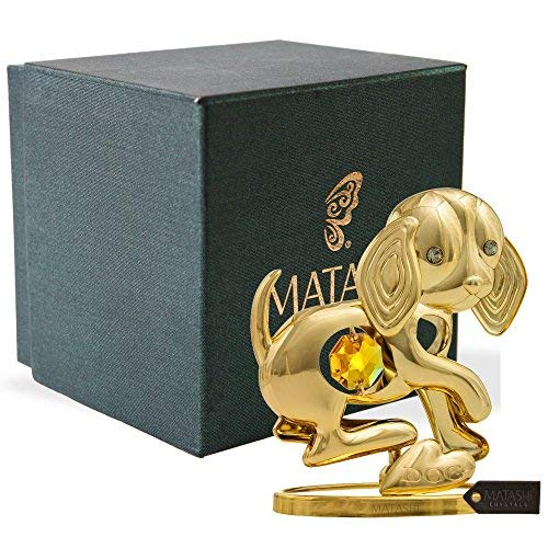 Matashi 24K Gold Plated Dog Cute Puppy Tabletop Ornament with Gold Crystal   Year of The Dog   Premium Home Décor   Small