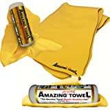 """The Amazing Drying Towel Size 27""""x17"""" - The Best Super Absorbent Fast Drying Towel That Beats Microfiber Shammwow Chamois Shammy Cleaning Drying Cloths Hands Down! Great For Pets Cars Boats Kitchen and more - 6 Months No Questions Guarantee!"""
