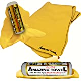The Amazing Drying Towel Size 27x17 - The Best Super Absorbent Fast Drying Towel That Beats Microfiber Shammwow Chamois Shammy Cleaning Drying Cloths Hands Down! Great For Pets Cars Boats Kitchen and more - 6 Months No Questions Guarantee!