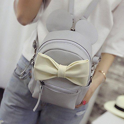 Girl Fashion Carino mickey doppia spalla borsa PU Pelle dello Zaino Da Viaggio Multifunzione Borsa Grigio