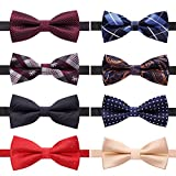 AUSKY 8 PACKS Elegant Adjustable Pre-tied bow ties for Men Boys in Different Colors (D)