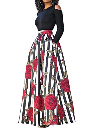 FAVALIVE Plus Size Cold Shoulder Two-Piece Dresses Pocket Long Skirt Set for Women XXL (Big Women Prom Dresses)