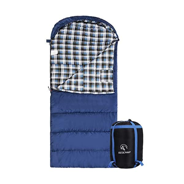 """REDCAMP Cotton Flannel Sleeping Bag for Adults, 23/32F Comfortable, Envelope with Compression Sack Blue/Grey 2/3/4lbs (91""""x35"""") 3"""