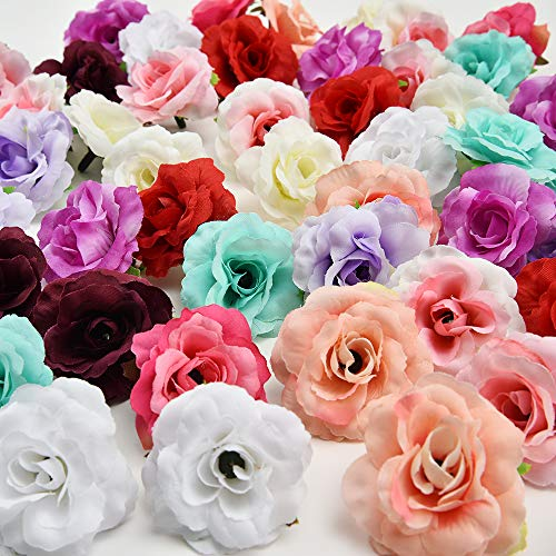 Handmade Mini Artificial Silk Rose Flowers Heads in Bulk Wholesale DIY Scrapbooking Flower Kiss Ball for Wedding Decorative 30pcs 4cm (Multicolor)