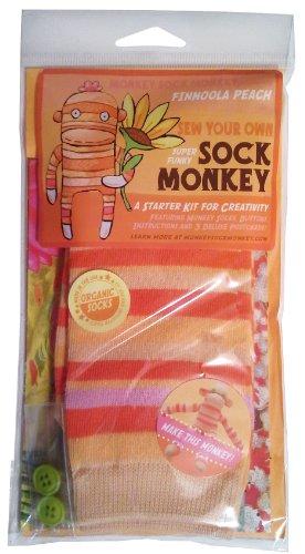 Monkey Sock Monkey Orange Soft Sock Monkey Kit, Finnoola Peach (Does Not Include -