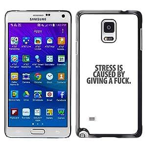 Qstar Arte & diseño plástico duro Fundas Cover Cubre Hard Case Cover para Samsung Galaxy Note 4 IV / SM-N910F / SM-N910K / SM-N910C / SM-N910W8 / SM-N910U / SM-N910G ( Stress White Black Depression Text Message)