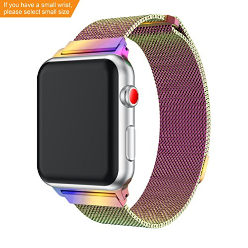 Junboer-E LV Compatible Apple Watch Band 38mm/40mm/42mm/44mm, Milanese Loop Fully Magnetic Clasp Stainless Steel Wristbands for iWatch Series 4/3/2/1 S/L