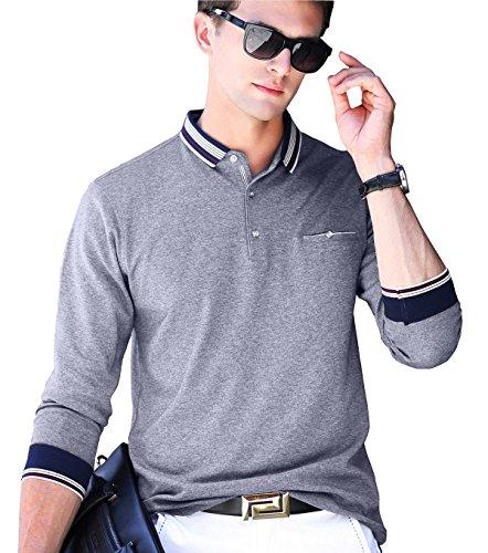 XTAPAN Mens Polo Shirt Casual Long Sleeve Classic Fashion Polo Cotton T Golf Sport Shirt