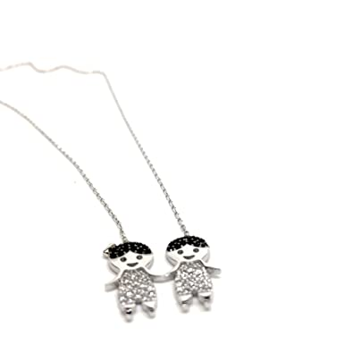 925 Sterling Silver Mother Necklace Of Twins Jewelry