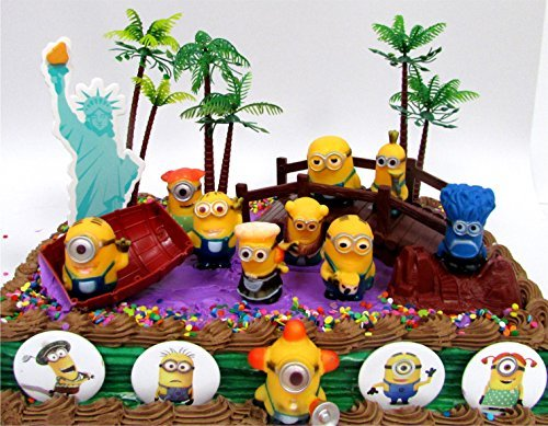 DESPICABLE ME 14 Piece Birthday Cake Topper Set Featuring 10 Random Despicable Me Figures, Includes Themed Decorative Accessories, Figures Average 1.5