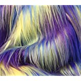 "Faux Fur Fabric Long Pile 3 TONE RAINBOW YELLOW BLUE PURPLE / 60"" Wide / Sold by the yard"
