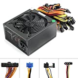 1600W power supply For 6 GPU Eth Rig Ethereum Bitcoin Mining Miner Machine , 1600 Watt 90 Plus Gold Certified pc Power Supply / PSU with Silent 140mm Fan and Auto Fan Speed Control, Semi Modular Desig